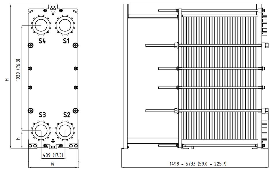 Габаритные размеры пластинчатого разборного теплообменника