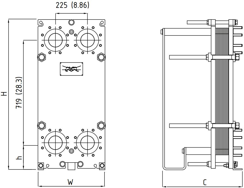 Габаритные размеры пластинчатого теплообменника